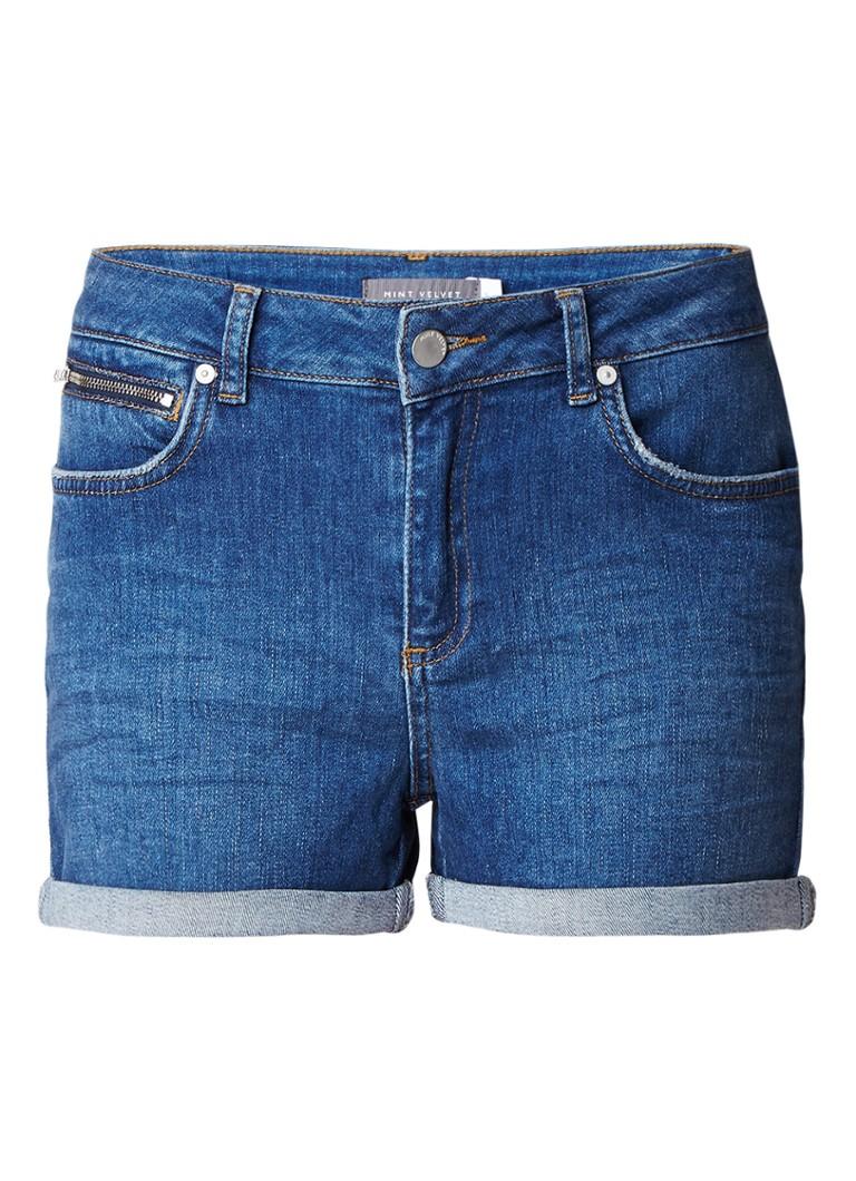 Mint Velvet High rise denim shorts met omslag