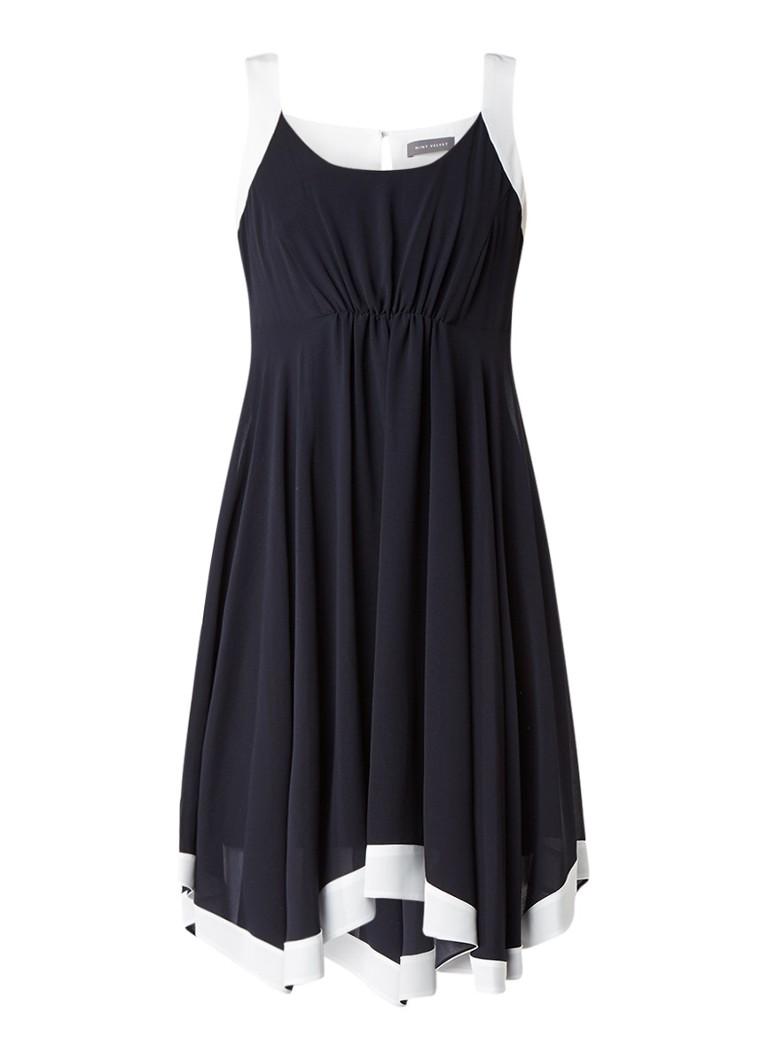 Mint Velvet Asymmetrische A-lijn jurk van chiffon met contrasterende biezen donkerblauw