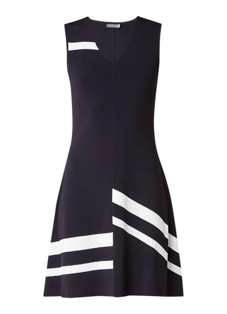 Mint Velvet Mouwloze A-lijn jurk met streepdetail en V-hals donkerblauw