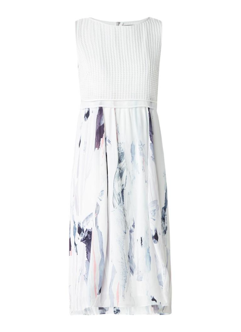 Mint Velvet Midi-jurk met broderie overlay en abstract dessin wit