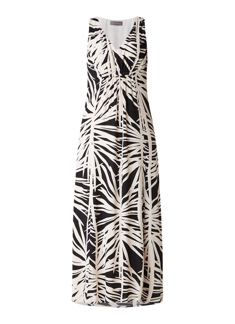 Mint Velvet Talia mouwloze maxi-jurk met abstract dessin zand