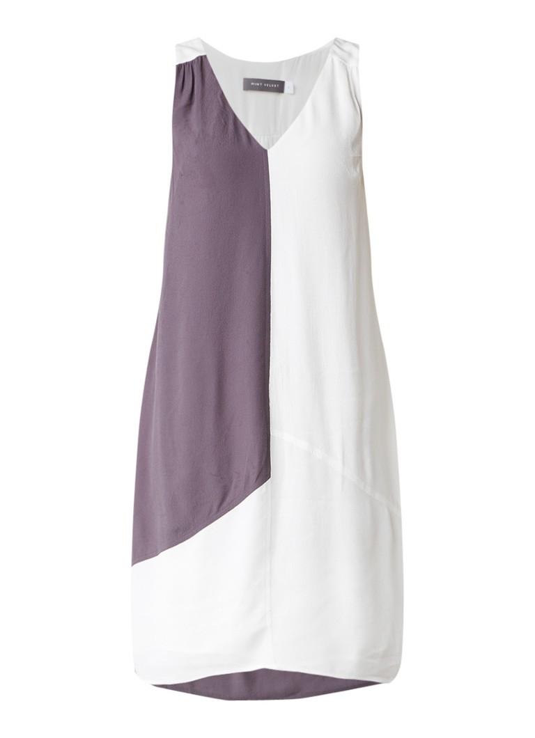 Mint Velvet Mouwloze crêpe jurk met color blocking grijs