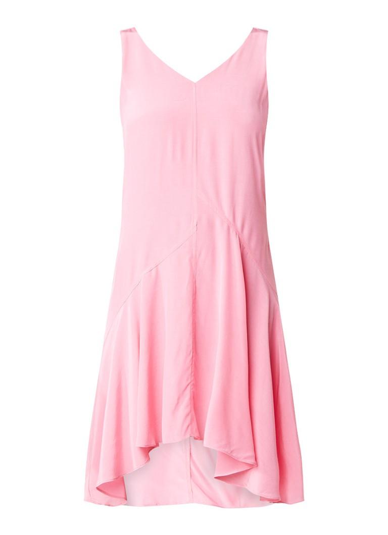 Mint Velvet Asymmetrische jurk met strikdetail op de rug roze