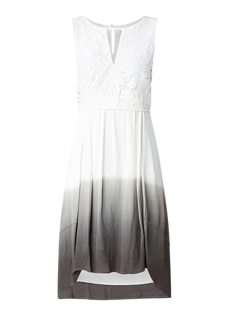 Mint Velvet Midi-jurk met overlay van kant en ombré-effect wit