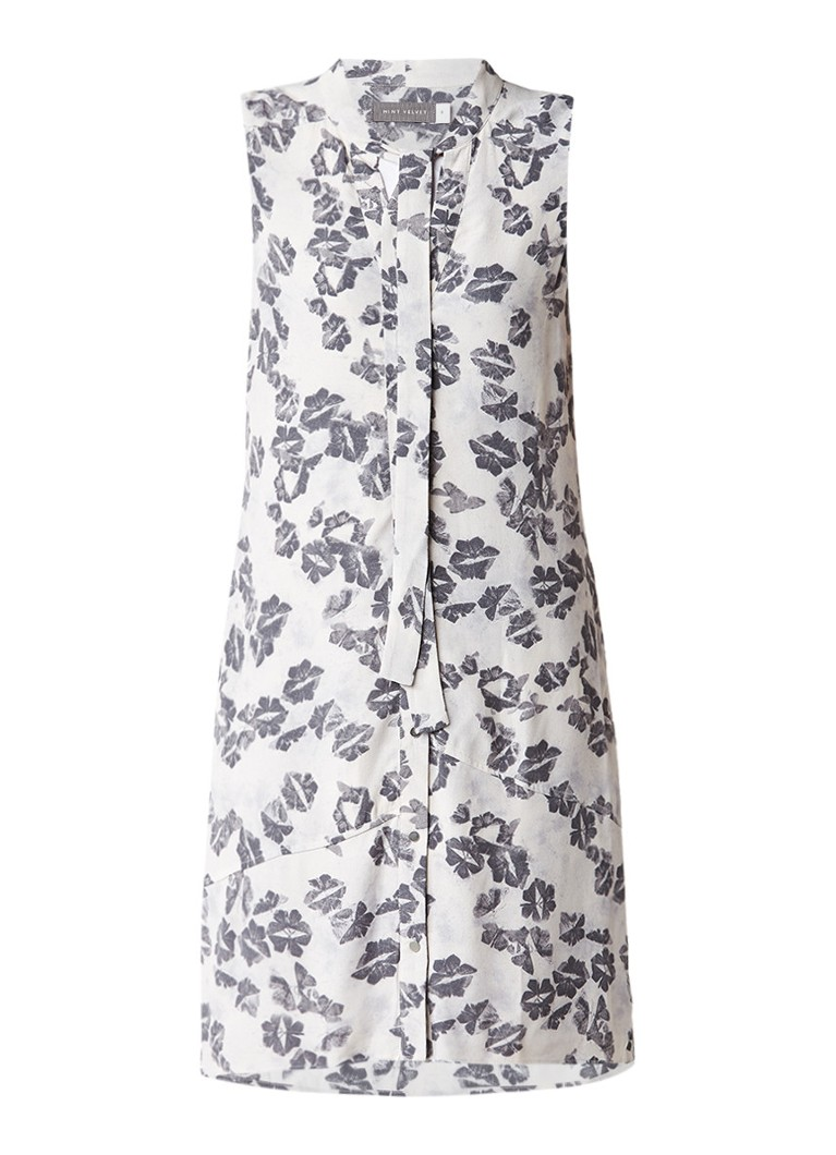 Mint Velvet Cecilia mouwloze blousejurk met abstract dessin lichtgrijs