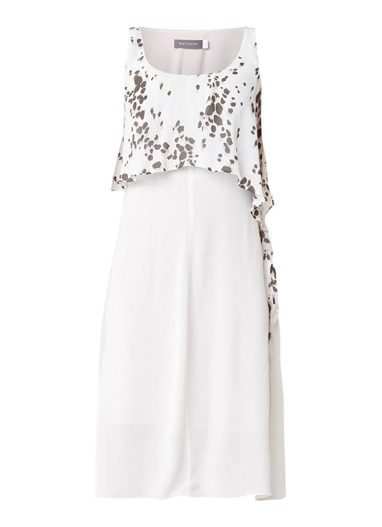 Mint Velvet Sashia midi-jurk met overlay en dessin gebroken wit