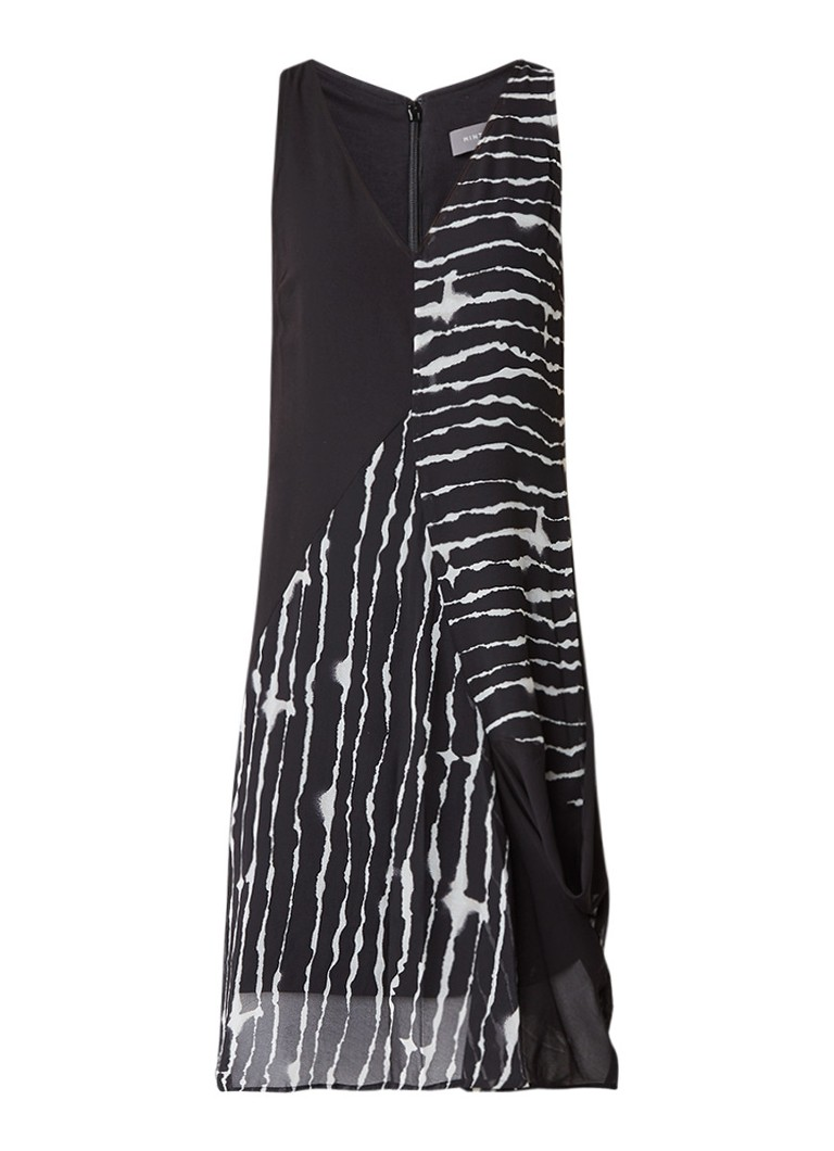 Mint Velvet Asymmetrische jurk met abstract streepdessin zwart