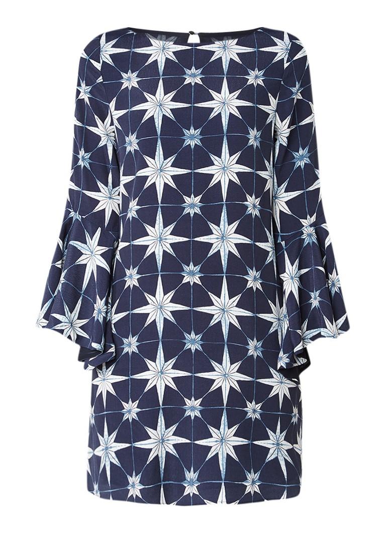 Mint Velvet Natalie jurk met trompetmouw en dessin donkerblauw