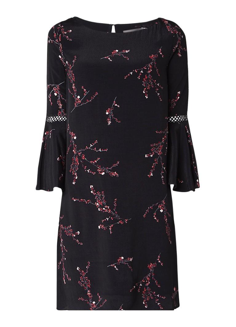 Mint Velvet Blossom tuniekjurk met trompetmouw en bloemdessin zwart