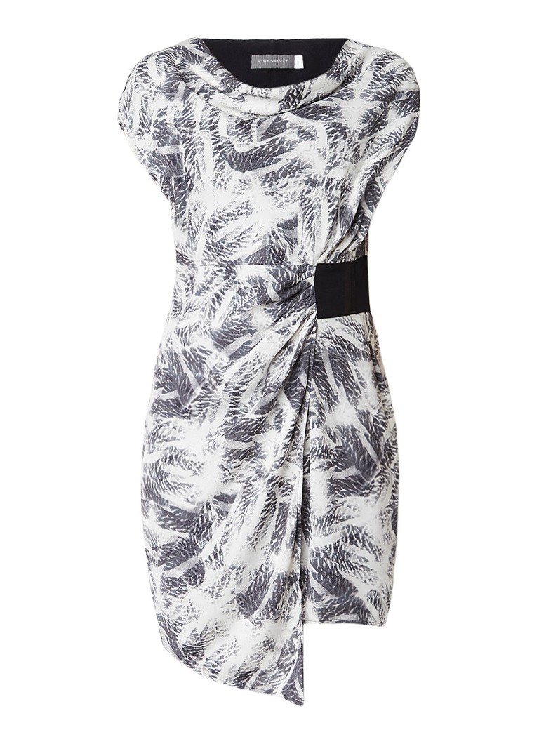 Mint Velvet Indra asymmetrische jurk met overslag en print lichtgrijs