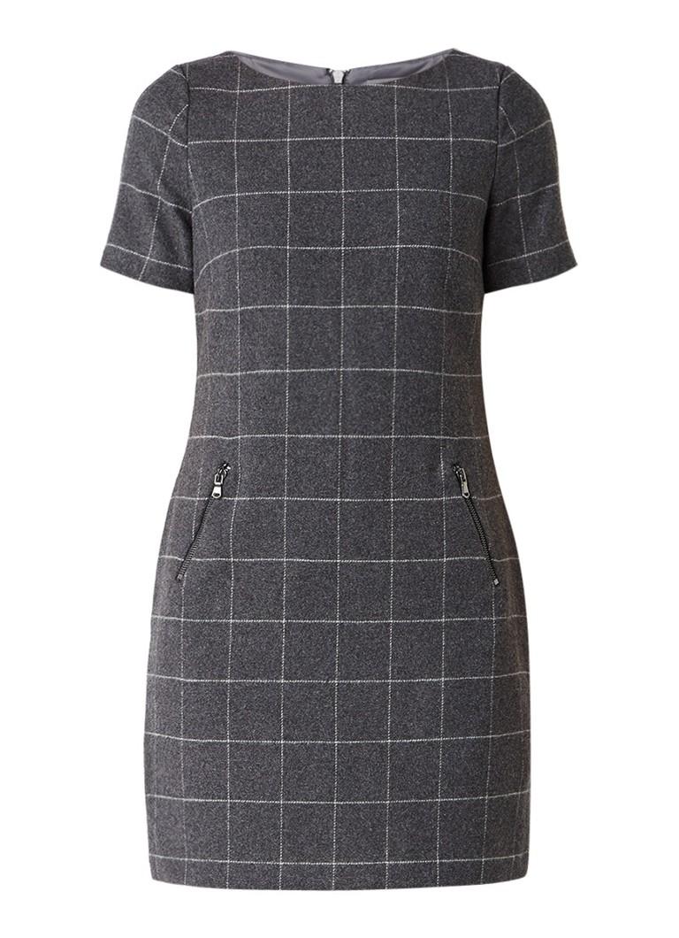 Mint Velvet Charcoal jurk van wol met ruitdessin donkergrijs