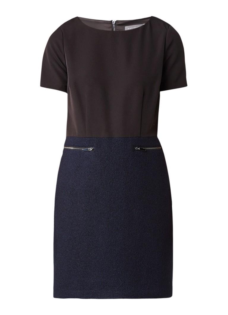 Mint Velvet Kokerjurk van wol met bovenzijde van crêpe donkerblauw