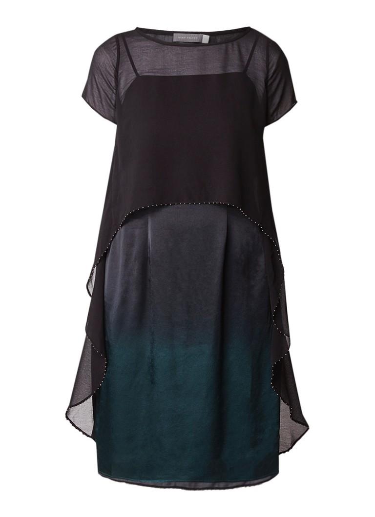 Mint Velvet Ombre jurk met semi-transparante overlay donkergroen