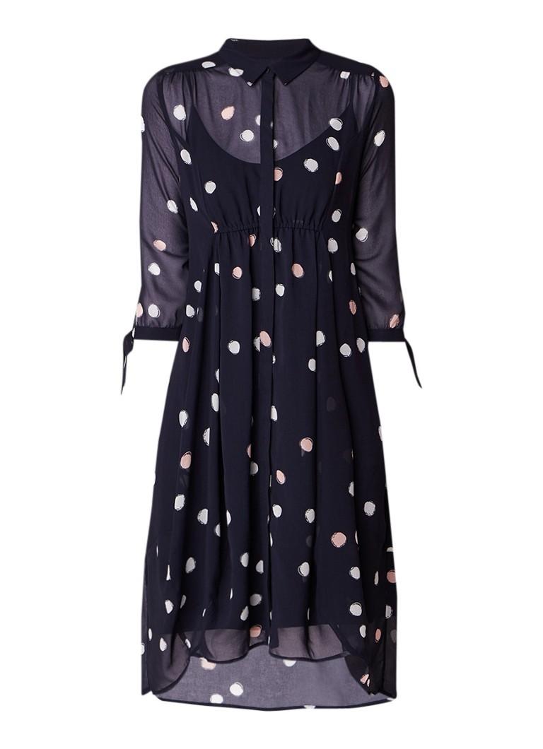Mint Velvet Brynn semi-transparante blousejurk met stippendessin donkerblauw