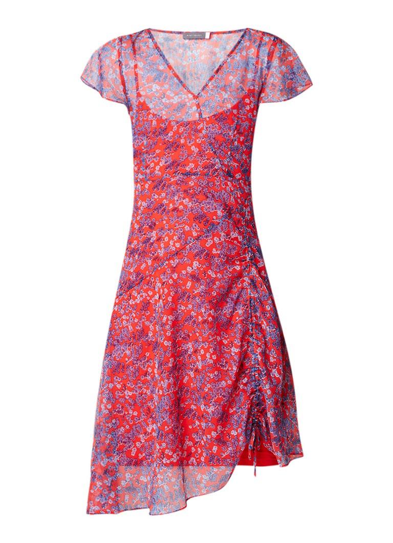 Mint Velvet Carolina A-lijn jurk van crêpe met bloemendessin en rijgdetail rood