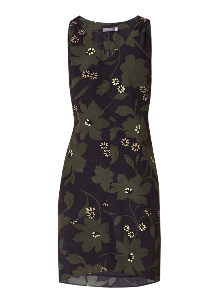 Mint Velvet Bethany tuniekjurk met bloemendessin en contrastbies legergroen