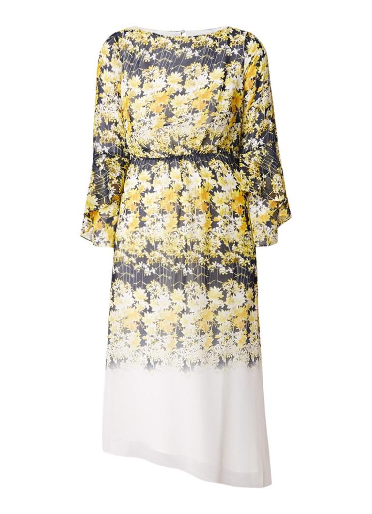 Mint Velvet Bianca asymmetrische midi-jurk met bloemendessin geel