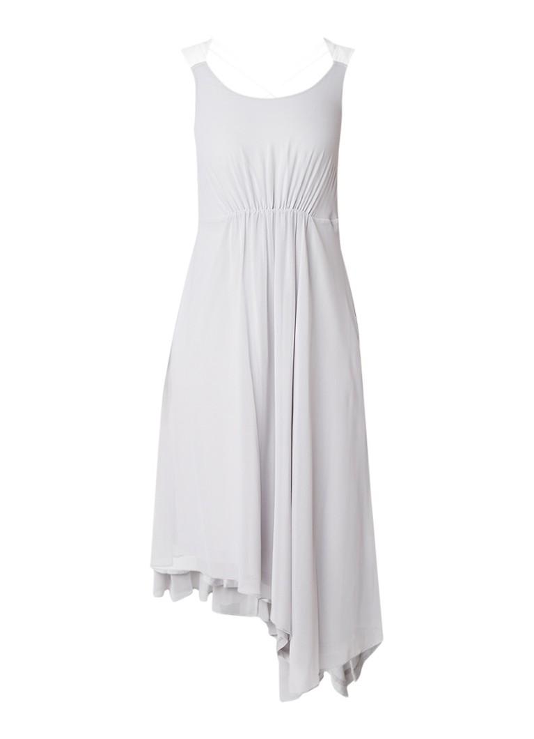 Mint Velvet Ivory A-lijn jurk van crêpe met gekruiste banden lichtgrijs
