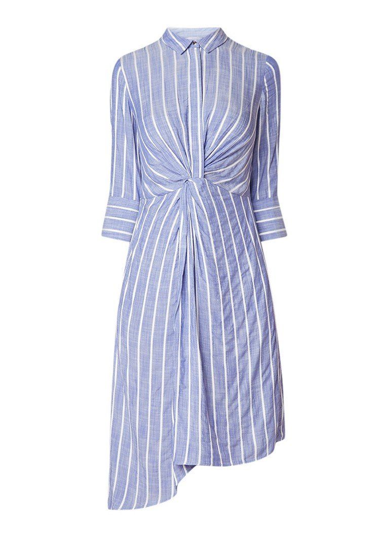 Mint Velvet Gestreepte asymmetrische blousejurk met knoopdetail lichtblauw