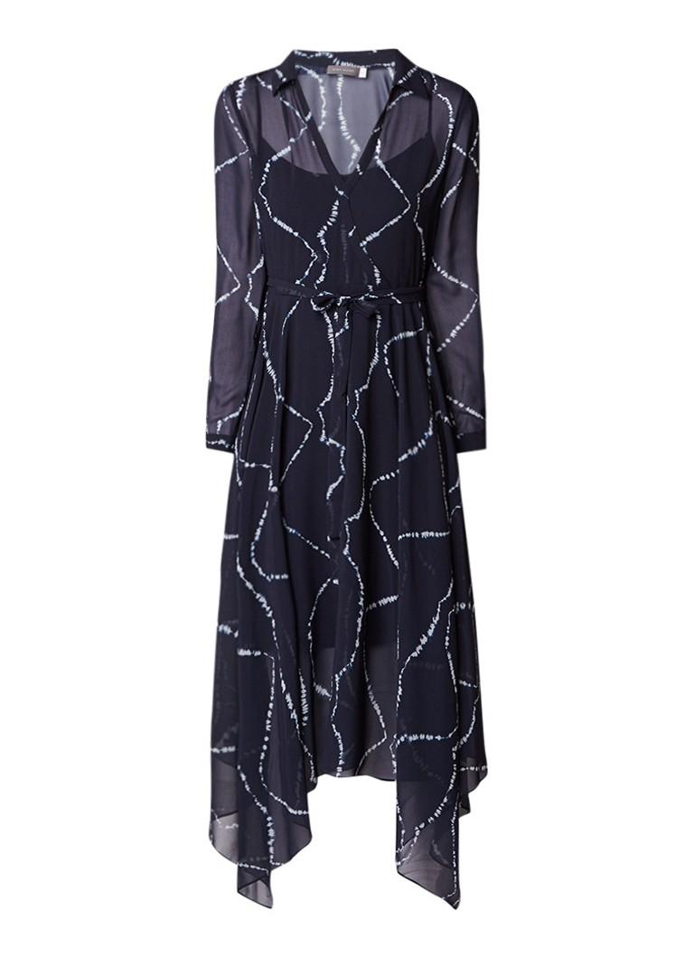 Mint Velvet Kelly jurk van crêpe met tie dye-dessin donkerblauw