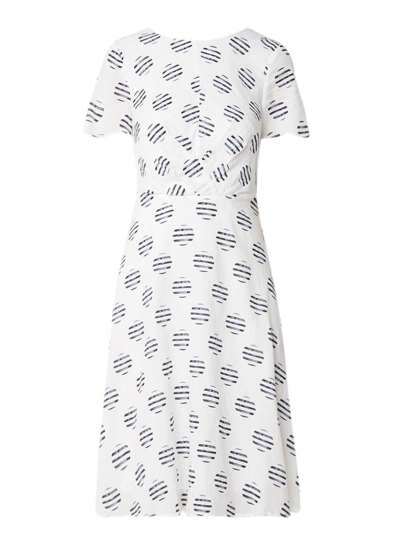 Mint Velvet Carla A-lijn jurk met dessin en rugdecolleté met strik gebroken wit