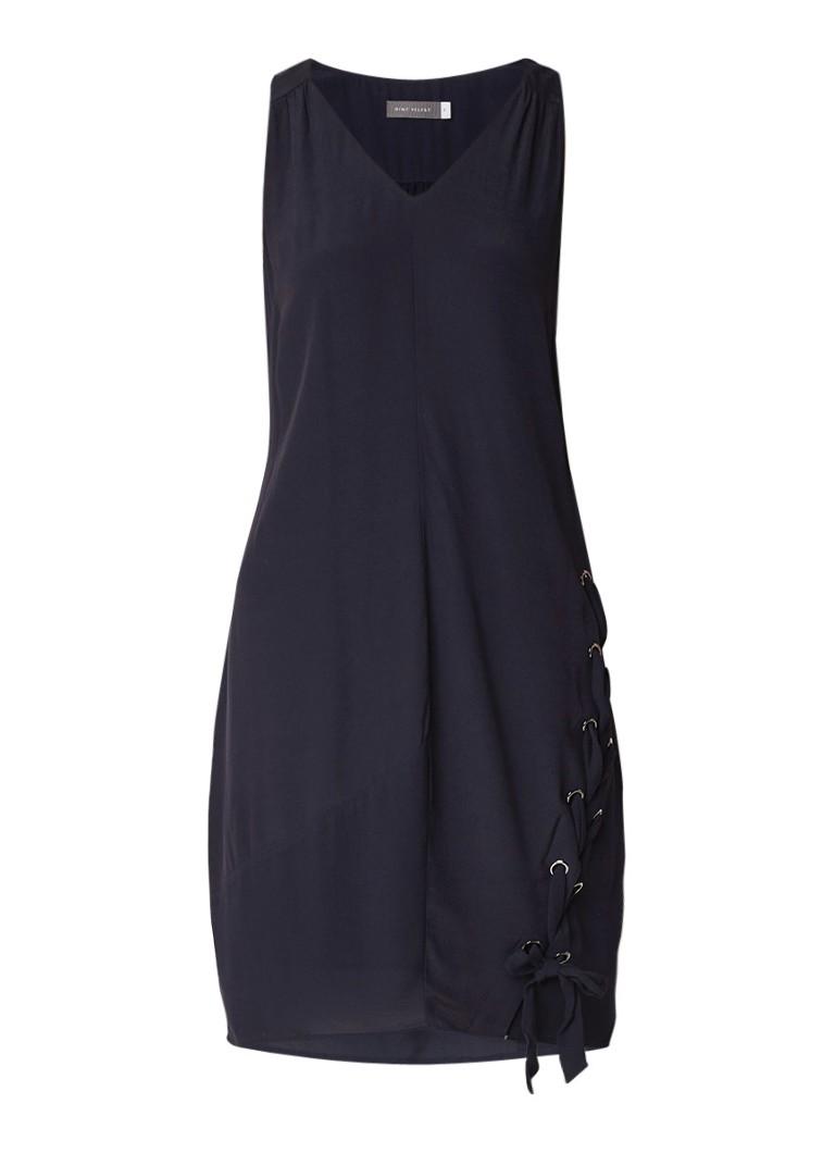 Mint Velvet Midi-jurk met strik en eyelet detail donkerblauw