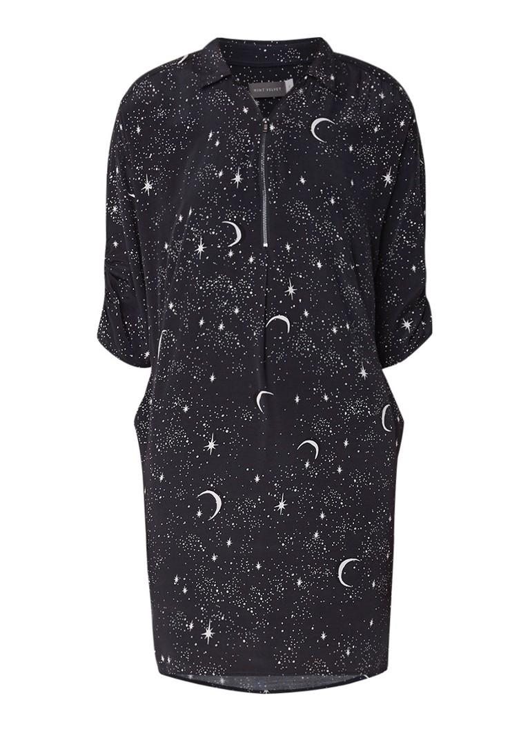 Mint Velvet Shae midi-jurk met print en aangerimpeld detail zwart