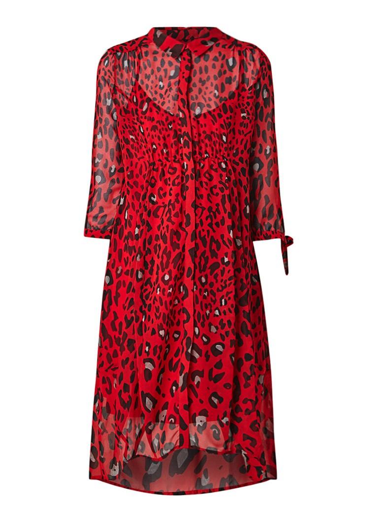Mint Velvet Salma blousejurk met luipaardprint en aangehecht singlet rood