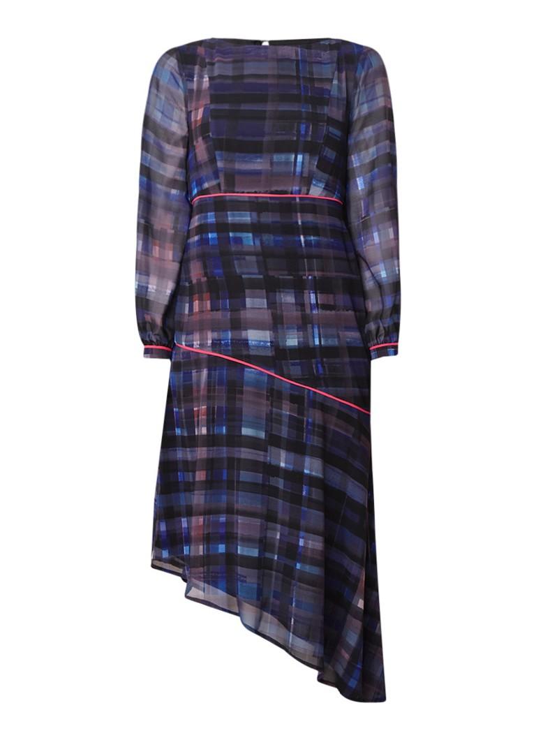 Mint Velvet Lizzie asymmetrische midi-jurk met ruitdessin multicolor