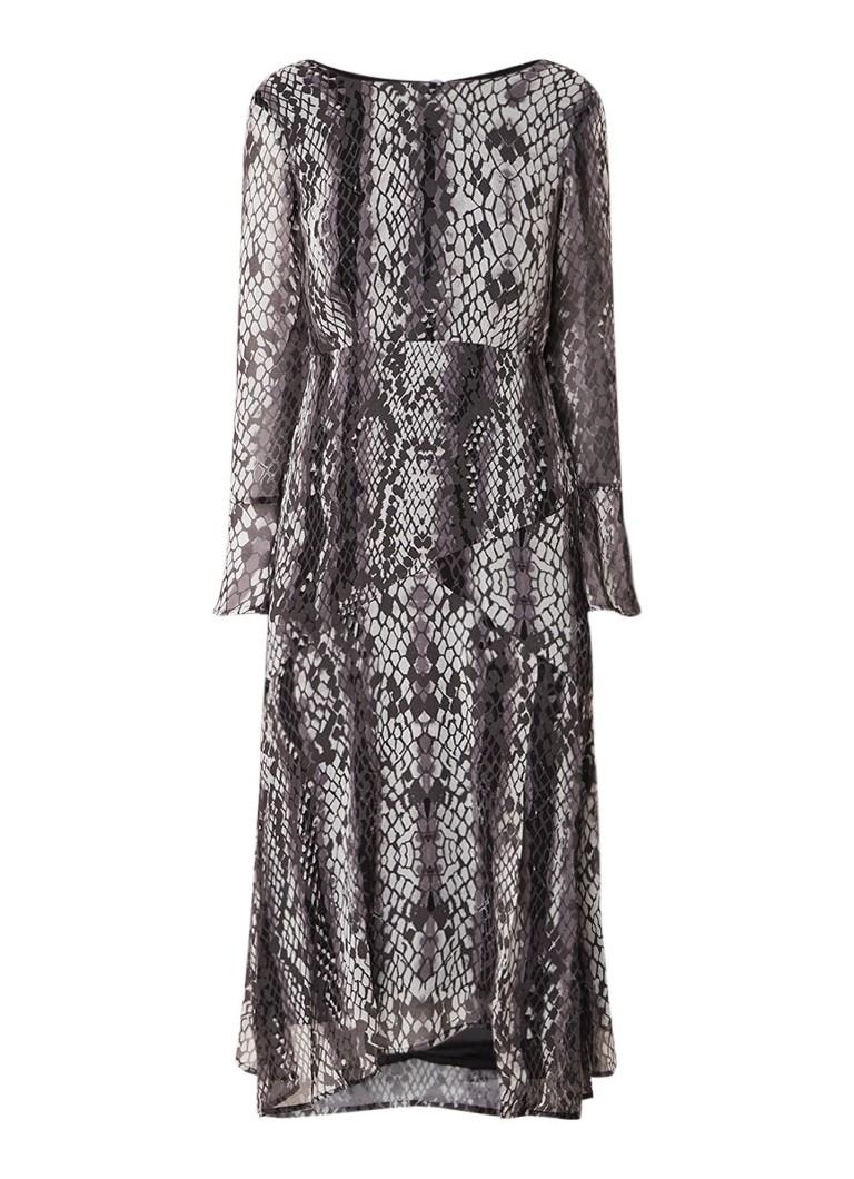 Mint Velvet Lucy midi-jurk met split en dessin middengrijs