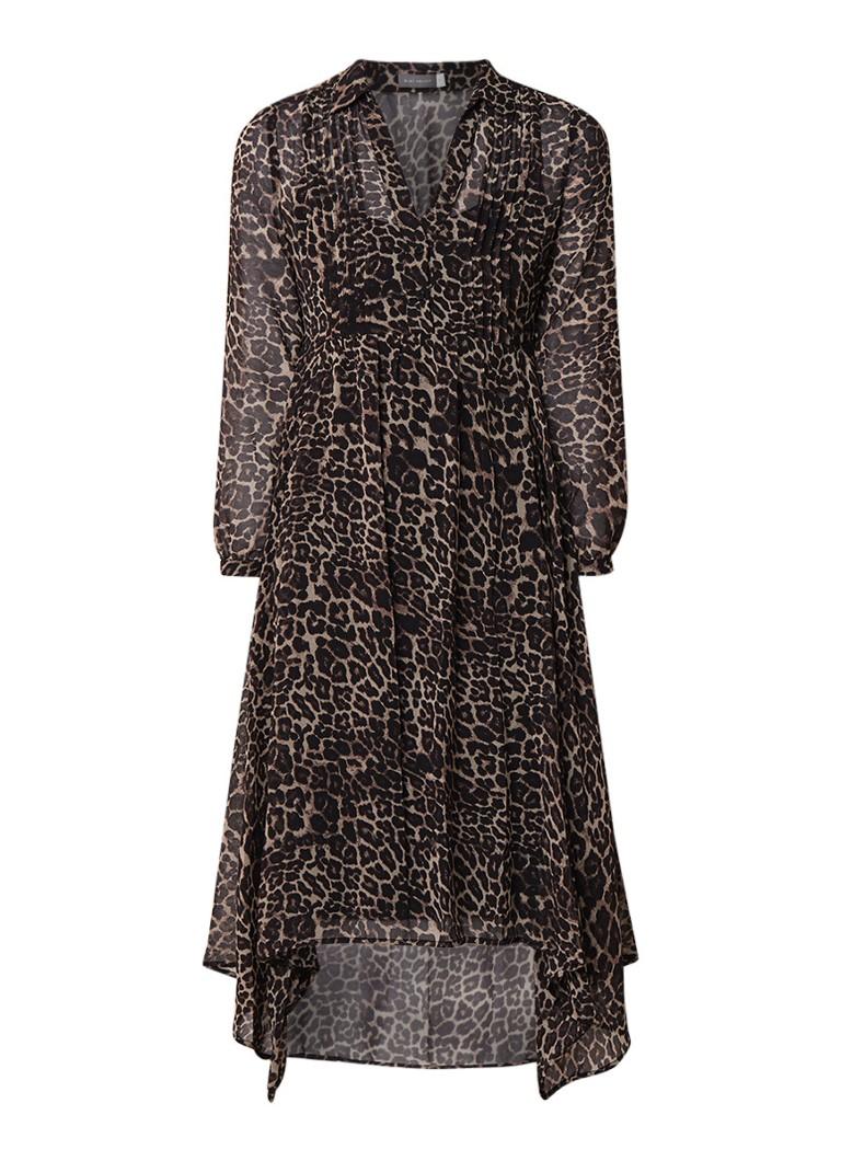 Mint Velvet Tessa midi blousejurk met luipaarddessin bruin