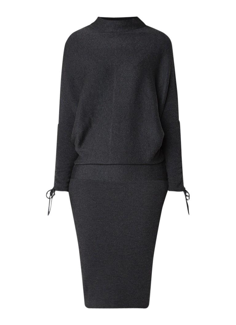 Mint Velvet Charcoal fijngebreide midi-jurk in wolblend donkergrijs