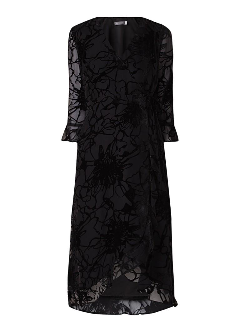 Mint Velvet Ellie Devore wikkeljurk met details van fluweel zwart