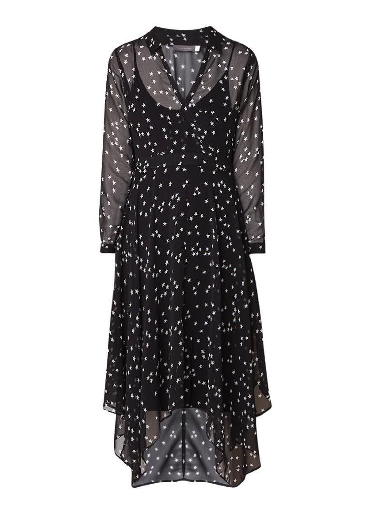 Mint Velvet A-lijn jurk met sterrendessin en jersey onderjurk zwart