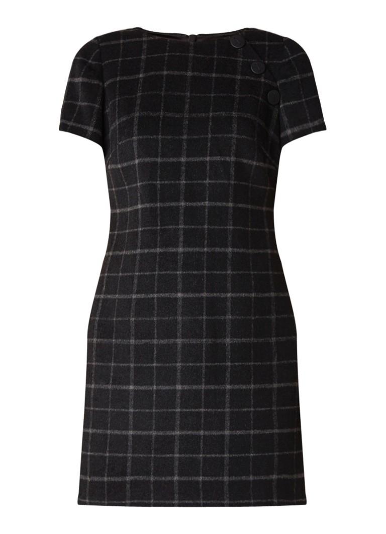 Mint Velvet Mini-jurk in wolblend met ruitdessin antraciet