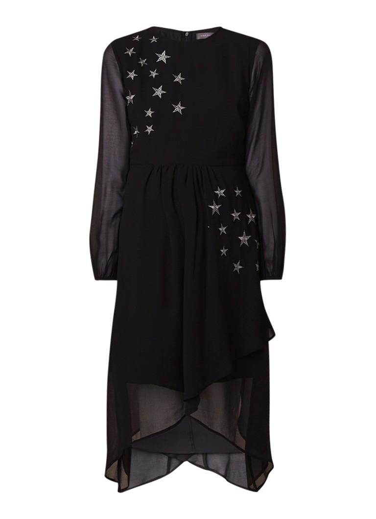 Mint Velvet Semi-transparante midi-jurk van crêpe met sterren borduring zwart