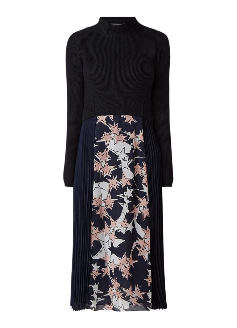 Mint Velvet Ava maxi-jurk met dessin en gebreide top donkerblauw