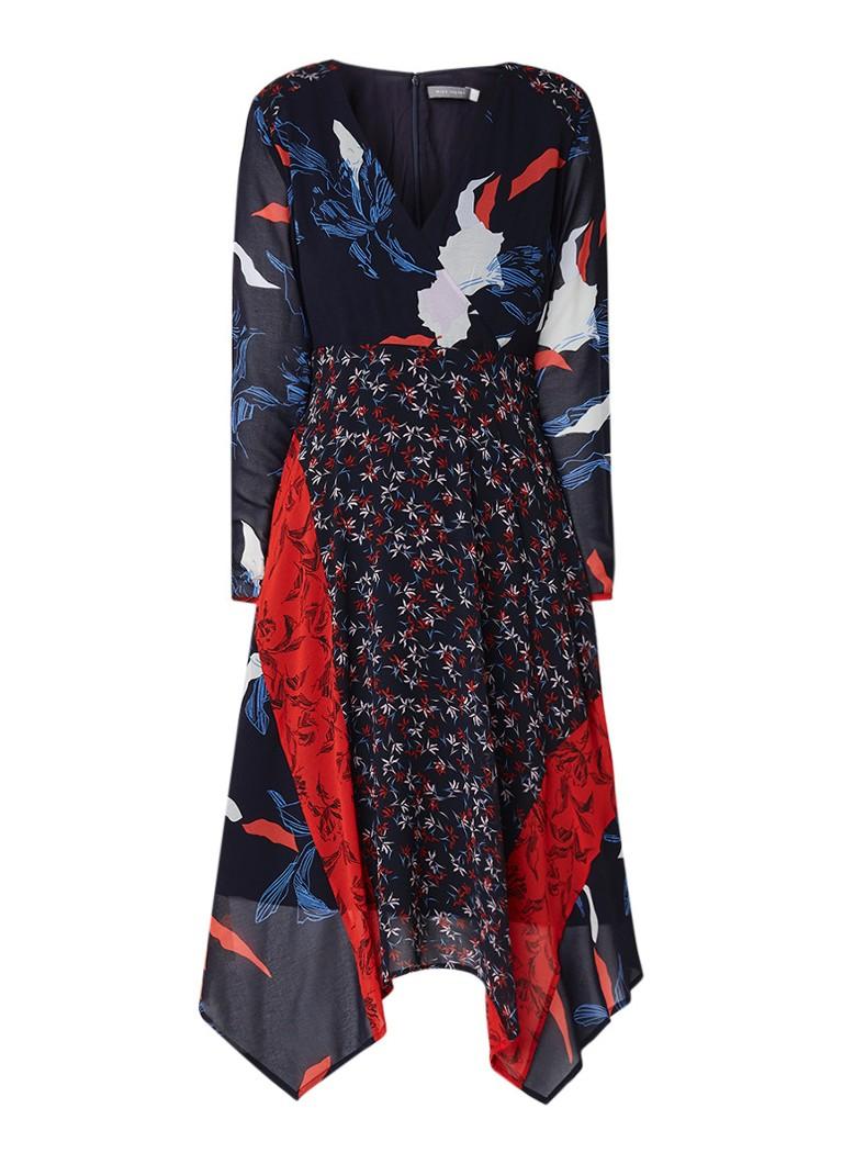 Mint Velvet Midi-jurk met bloemendessin en overslag donkerblauw