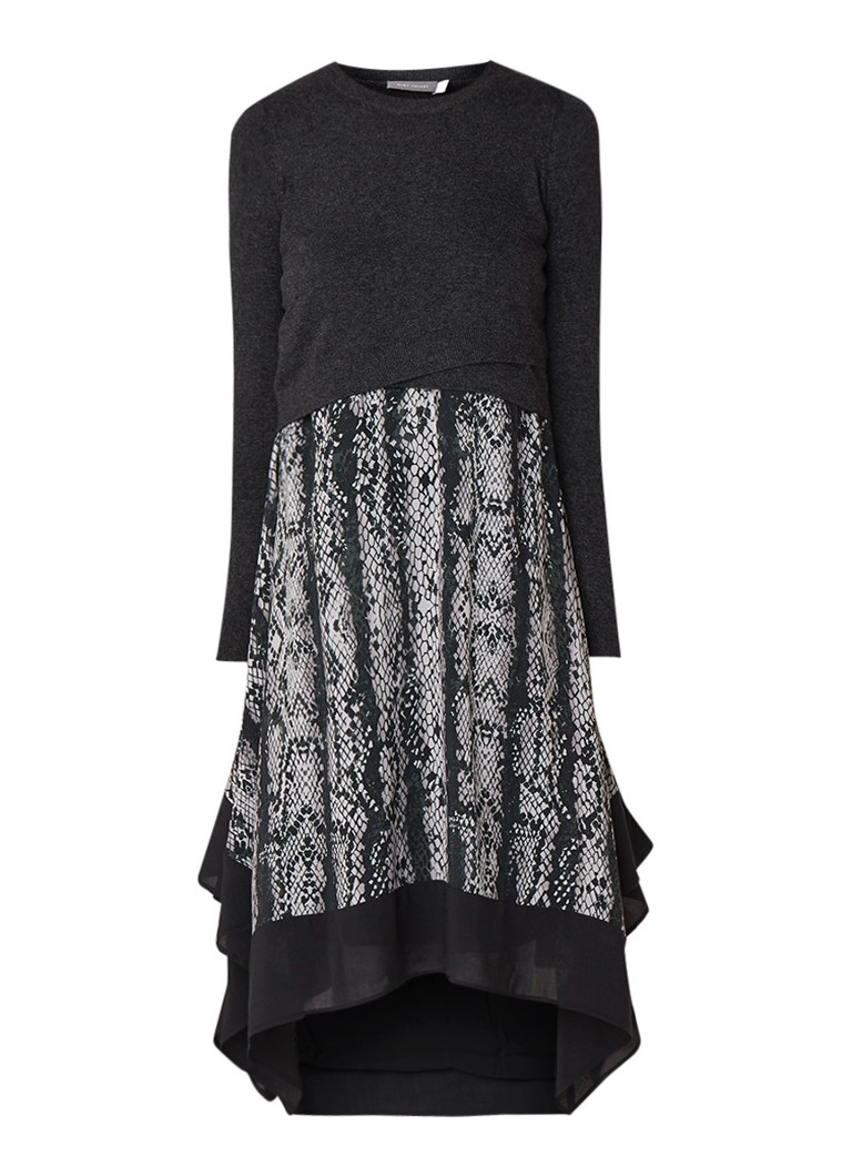 Mint Velvet Lucy tuniekjurk met pullover en dessin donkergrijs