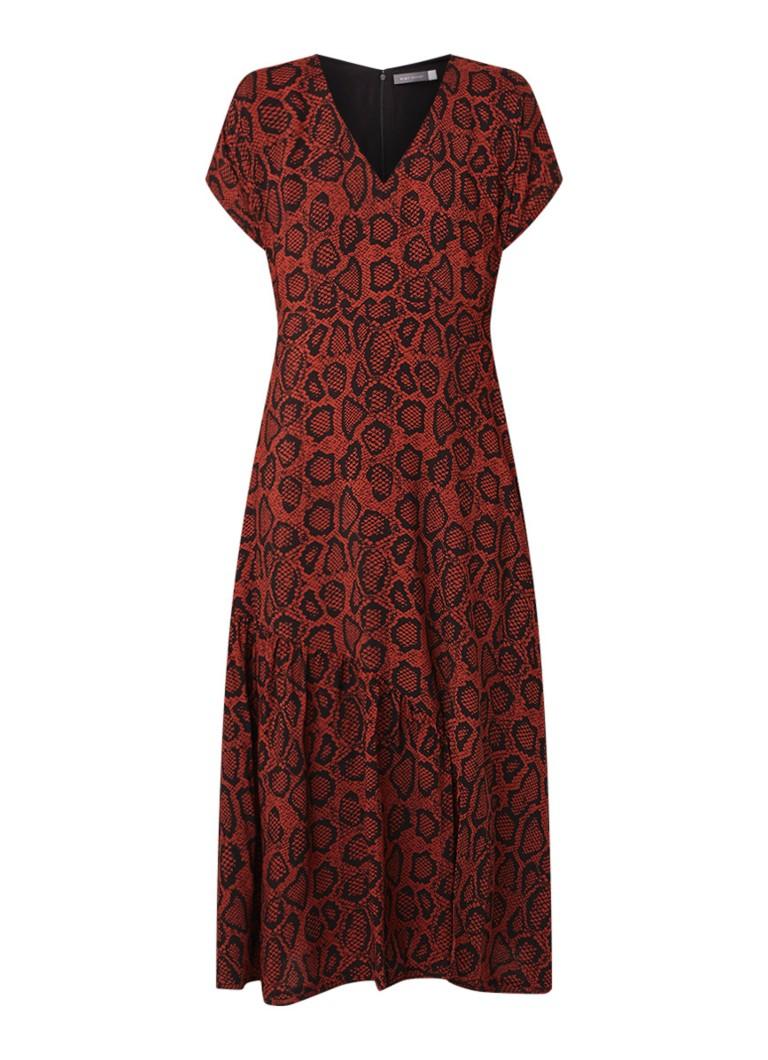 Mint Velvet Molly maxi-jurk met slangendessin donkerrood