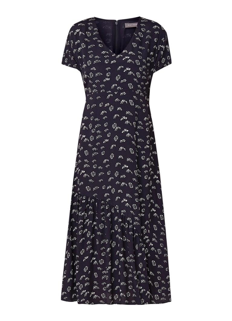 Mint Velvet Lara midi-jurk met dessin en V-hals donkerblauw