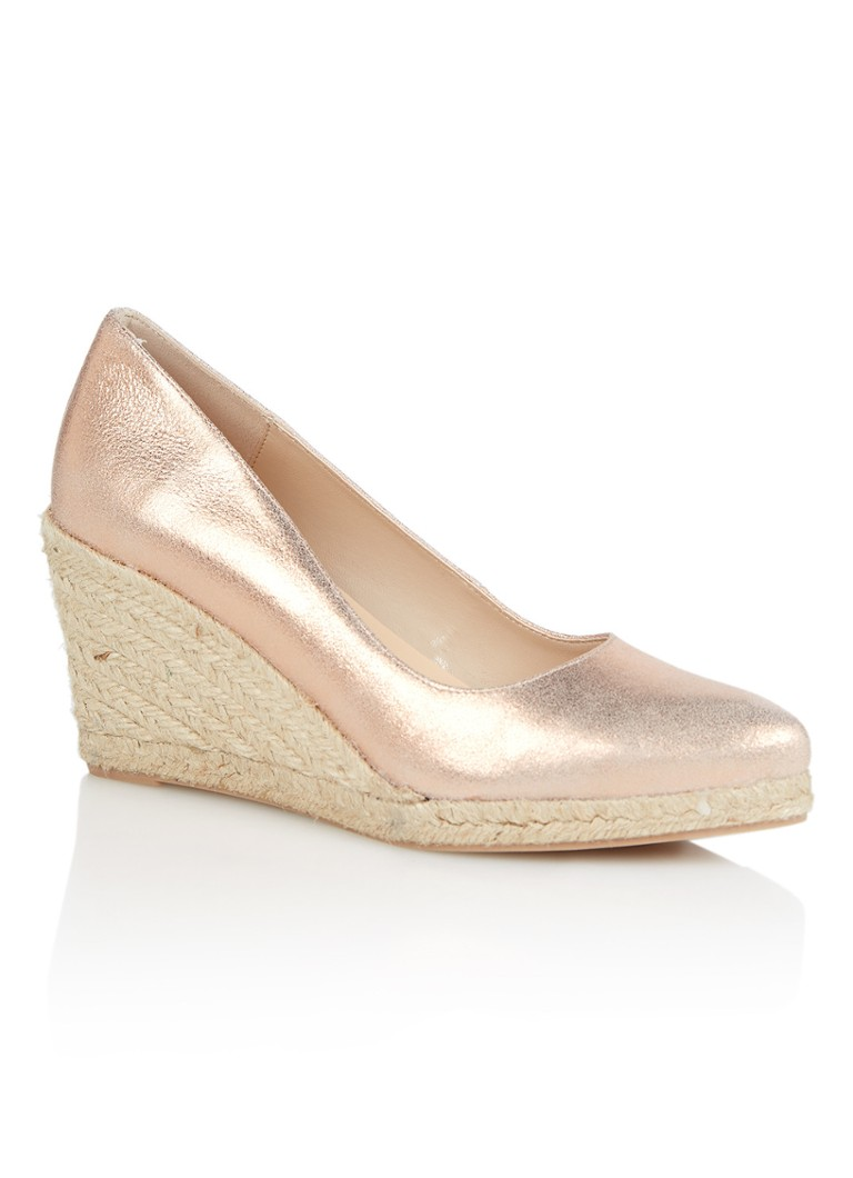 Mint Velvet Grace Rose espadrille van leer met metallic finish