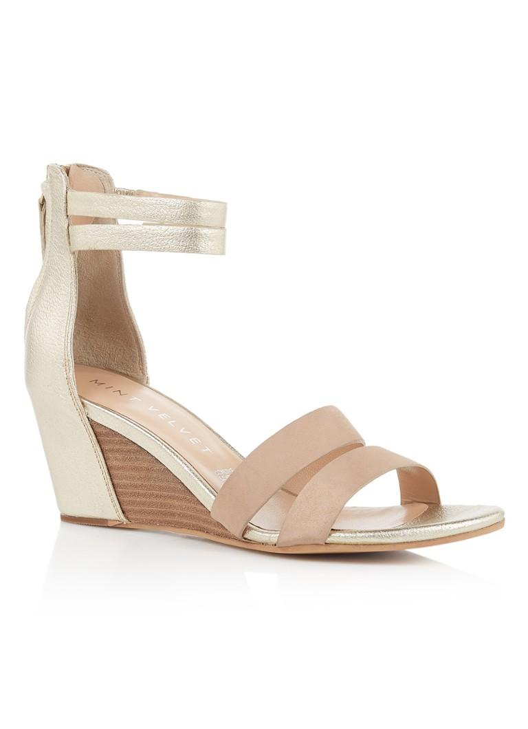 Mint Velvet Iris sandaal van leer met metallic finish