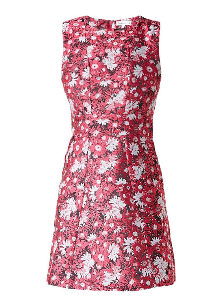Warehouse Aster jacquard jurk met bloemendessin donkerroze
