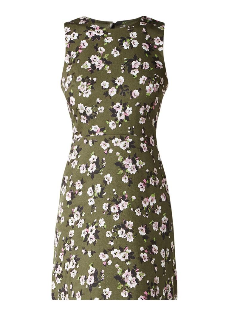 Warehouse Mae gebloemde mini-jurk met cut-out detail olijfgroen
