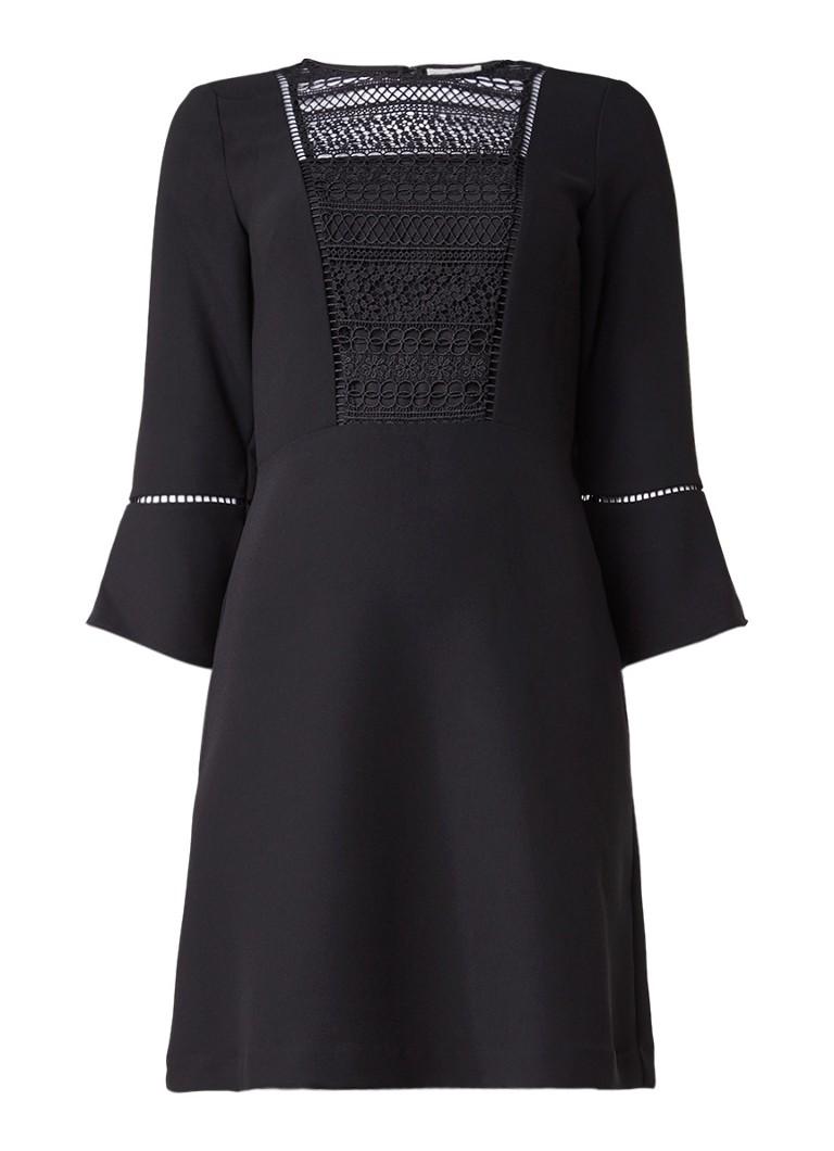 Warehouse A-lijn jurk met inzet van kant zwart