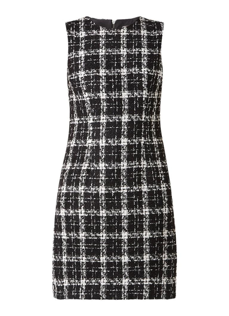 Warehouse A-lijn jurk van tweed in katoenblend zwart