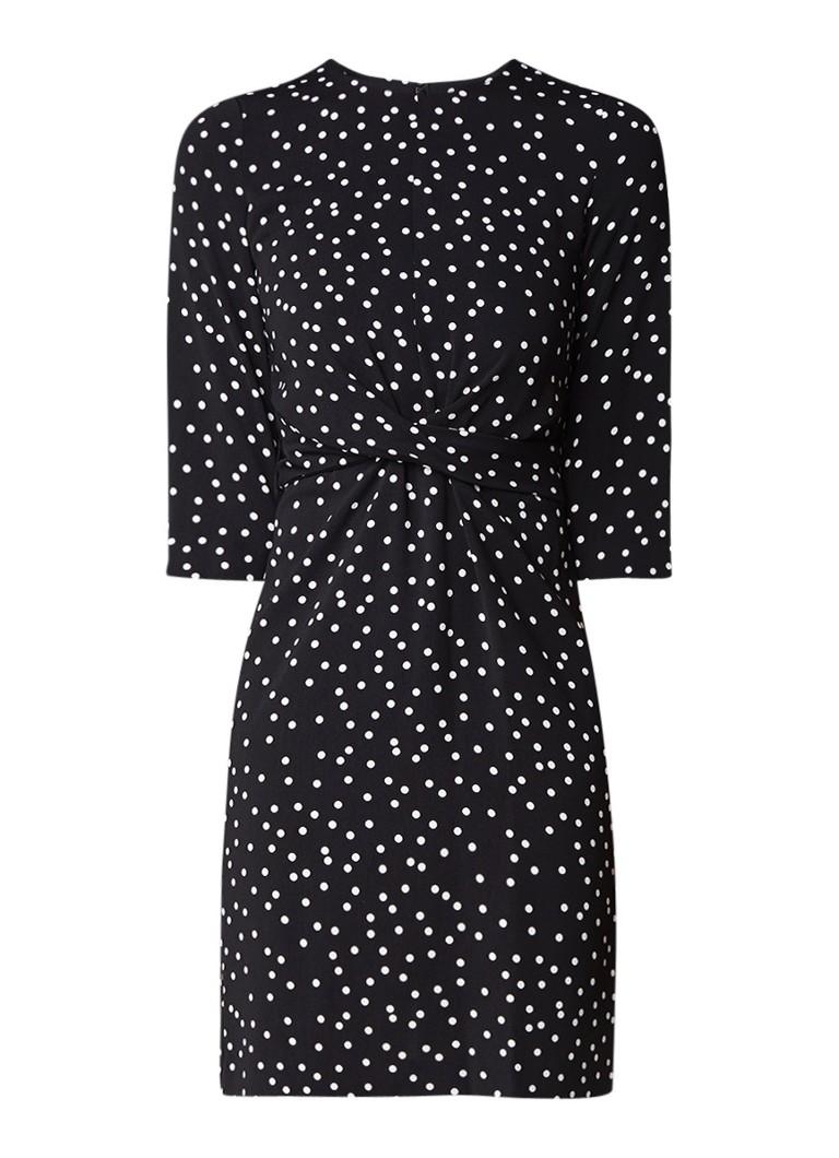 Warehouse Midi-jurk met stippendessin en strikceintuur zwart