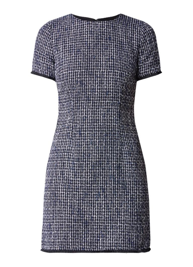 Warehouse Bridget jurk van tweed met gerafelde rand donkerblauw