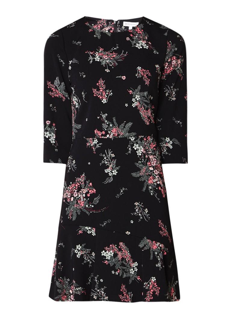 Warehouse A-lijn jurk met print en driekwartsmouw zwart